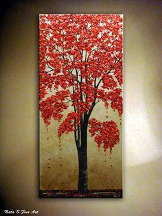 ORIGINAL Blossom Tree Painting Abstract Textured Tree on