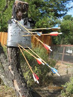 Homemade archery target: recycled grocery bags filled with rags and wrapped with duct tape. Lightweight and portable! Archery Targets, Bowhunting, Grocery Bags, Diy Bow, Duct Tape, Paper Crafting, Games For Kids, Weapons, Diy And Crafts