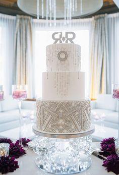 Glamorously unique three tier silver detailed white wedding cake; Featured Cake: The Cake & The Giraffe