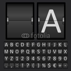 Vector: Scoreboard Letters and Numbers Alphabet