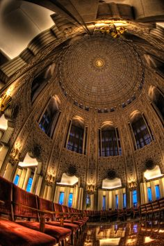 The Baha'i house of worship in Wilmette, Illinois.  The domed ceiling was designed by Alfred Shaw.