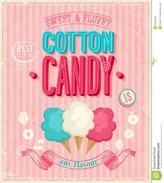 Vintage Cotton Candy Poster. Vector Illustration. - Download From Over 29 Million High Quality Stock Photos, Images, Vectors. Sign up for FREE today. Image: 33212283