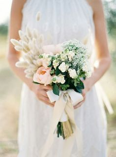 BEAUTIFUL Bride's Bouquet With: Peach English Garden Roses, White Snowberry, Pussy Willow, Additional Coordinating Florals