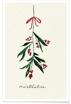 Mistletoe als Alu-Dibond Druck von Nathalie Köslin Painted Christmas Cards, Watercolor Christmas Cards, Christmas Drawing, Diy Christmas Cards, Christmas Paintings, Watercolor Cards, Xmas Cards, Christmas Art, Winter Christmas