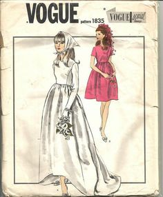 1960s Vogue Special Design Wedding Gown Wedding Dress with Train Bridesmaid Dress Vogue 1835 Uncut FF Size 10 B 31 Vintage Sewing Pattern