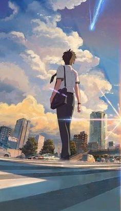 Your Name Wallpaper, Matching Wallpaper, Couple Wallpaper, Kimi No Na Wa Wallpaper, Sunset Wallpaper, Dandere Anime, Your Name Anime, Blue Anime, Image Manga
