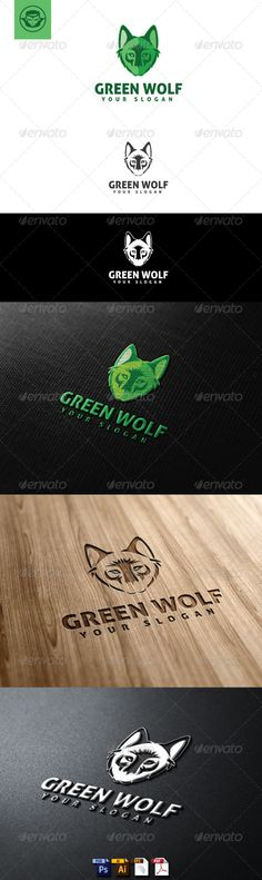 Green Wolf  Logo Design Template Vector #logotype Download it here: http://graphicriver.net/item/green-wolf-logo-template/5056894?s_rank=934?ref=nesto