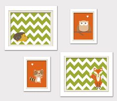 Nursery Quad Woodland Nursery Fox Nursery Orange by ChicWallArt