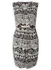 Mela Black White Print Belted Dress