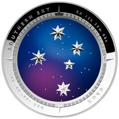 SOUTHERN SKY CRUX CURVED 1 oz Ag.999  SILVER PROOF COIN 5$ AUSTRALIA 2012 reverse