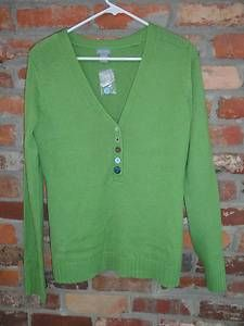 $19.95 OBO New Women's Delia's Green V Neck Half Button Long Sleeve Sweater Size: Large Free Shippng NWT