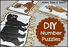 Combine visual learning and numerical ordering with these DIY number puzzles. Children have to arrange the numbers first, looking to the puzzle as clues to see if they're doing it correctly, which aids in self-assessment skills. Find the instructions here and use the images provided, or for higher grade levels, print more complex photos for your puzzles.