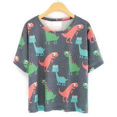 Cartoon Dinosaur Print T-Shirt (£6.31) ❤ liked on Polyvore featuring tops, t-shirts, shirts, romwe, grey, cotton shirts, cotton t shirt, gray shirt, gray t shirt and short-sleeve shirt