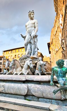 Fountain of Neptune (Neptün çeşmesi) on Piazza della Signoria in Florence, Italy (Floransa, İtalya)