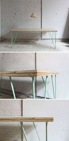 This easy table is super simple to make with a sleek mid-century modern look. Check out the website for instructions: http://www.homemade-modern.com/ep41-the-easy-diy-table/