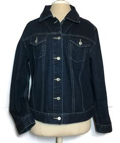 Trucker Denim Jacket Large Western Rodeo Dark Wash Cowgirl Boho #Arizona #JeanJacket