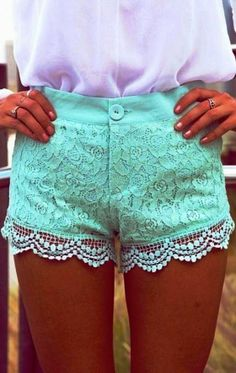 Mint Paisley Overlay Shorts With Crochet Trim