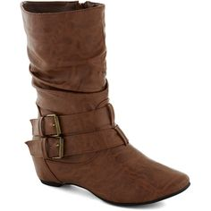 BYO Banjo Boot (155 BRL) ❤ liked on Polyvore featuring shoes, boots, 20. boots., botas, brown, brown knee high boots, buckle boots, slouchy buckle boots, slouch buckle boots and slouchy boots