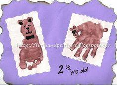 So cute!!!! Handprint bear and Footprint Craft from Fun Hand Print Art's blog