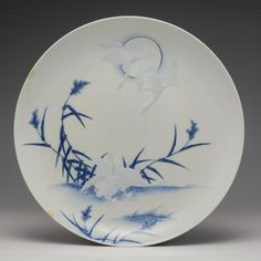Porcelain plate with moulded geese and blue rushes under the full moon, Hirado Mikawachi ware: Japan, Hizen province, Mikawachi, 1860 - 1880 Space Gallery, Japanese Porcelain, Earth From Space, Stonehenge, National Museum, Stargazing, Full Moon, Japanese Art, Constellations