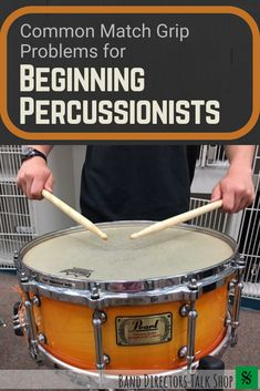 Band directors, how often do you check your beginning percussionists' match grips? Check out this article on how to spot problems with your percussionists' grips, how to correct them, and what to look out for as the year goes on. Music Lesson Plans, Music Lessons, Drum Lessons, High School Band, Middle School, Music Education, Health Education, Physical Education, Music School