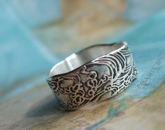 Beach Jewelry, Silver Ocean Ring, Surfer Fashion by HappyGoLicky Jewelry. SAVE 10% coupon Code: PIN10