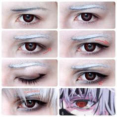 Tokyo ghoul makeup - ((I don't know the show, but the makeup tips are pretty cool for anime makeup while attending a con someday))
