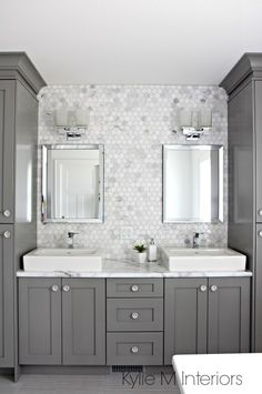 Double vanity in bathroom painted Benjamin Moore Chelsea Gray, hexagon mosaic…