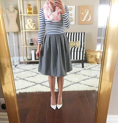 Stripes, grey pleated skirt and flamingo scarf