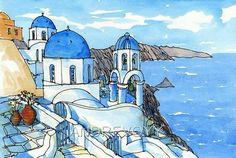 Santorini Oia 3 Greece art print from an original watercolor painting Pen And Watercolor, Watercolor Landscape, Watercolour Painting, Paros, Greece Art, Greece Painting, Urban Sketching, Art Sketchbook, Illustration Art