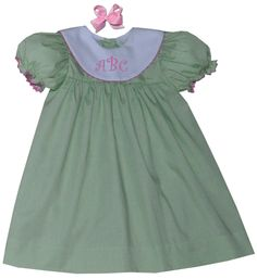 This and That For Kids - Apple Green Mini Check/White Collar  Girl's Dress , $27.00 (http://www.thisandthatforkids.com/apple-green-mini-check-white-collar-girls-dress/)