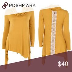 Cowl Neck Asymmetrical Hem Mustard Top Gorgeous mustard top. So flattering! Is more fitted through the arms and top to provide a bit of a tailored look. The bottom hangs nicely, and the asymmetrical hem offers such a great twist! ***Made in the USA 🇺🇸*** 96% Rayon 4% Spandex Tops Tunics