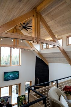 View from upper floor of the wood beam ceiling at The Lodge at Forest Lakes Country Club. Wood Beams, Ceiling Beams, Lakes, Backdrops, Flooring, Club, Country, Luxury, Timber Wood