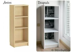 Before and after a bookcase Ikea Billy Ikea Furniture, Furniture Makeover, Tall Cabinet Storage, Locker Storage, Ikea Billy, Chalk Paint, Home And Family, Interior Design, House