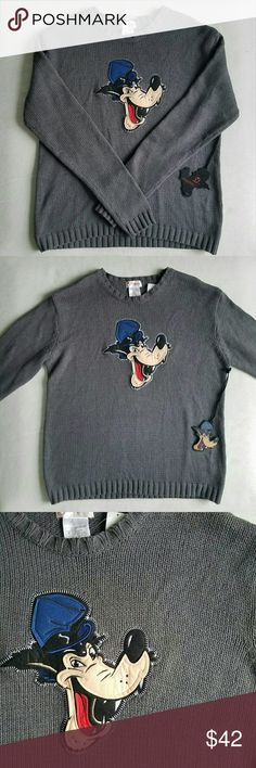 NWT Vtg Big Bad Wolf Sweater Disney Store Big Bad Wolf Sweater,  in mint condition. Tags attached.   Gray sweater, size large. Would fit a size medium oversized.  A very rare, unique vintage item.     Tags Iconic Disneyland cartoon little red riding hood collectors grunge hipster goth punk rock alternative lolita 90's 1990 Disney Sweaters Crew & Scoop Necks