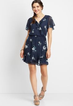 ruffled floral wrap dress Teacher Style, Wrap Dress Floral, Blue Dresses, Floral Prints, Short Sleeves, Stylists, Shirt Dress, My Style, Fabric
