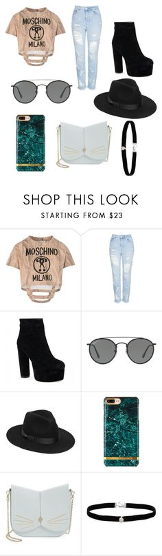 """Untitled #261"" by alexandriamcbride on Polyvore featuring Moschino, Topshop, Ray-Ban, Lack of Color, Ted Baker and Amanda Rose Collection"
