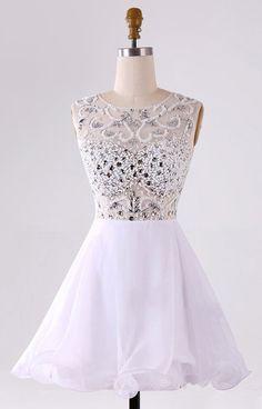 White Short Homecoming Dresses, White Short Prom Dresses, Beaded Homecoming…