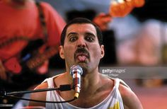 Singer Freddie Mercury (1946 - 1991) performing with British rock group Queen in Budapest, 1986.