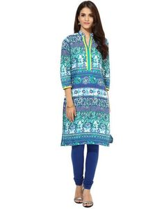 LadyIndia.com # Kurtas, Stylish Floral Printed Blue Kurti For Women, Kurtis, Kurtas, Cotton Kurti, Anarkali, A-Line Kurti Designer Kurti, https://ladyindia.com/collections/ethnic-wear/products/stylish-floral-printed-blue-kurti-for-women?variant=30039335245