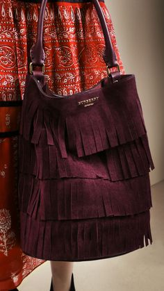 Loving this color and style. Elderberry The Bucket Bag in Tiered Fringe-Burberry Trendy Accessories, Fashion Accessories, My Bags, Purses And Bags, Fendi, Gucci, Bowling Bags, Burberry Women, Burberry Prorsum