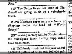 18 Jan 1869, Mon p1 VELOCIPEDE news from CINCINNATI.