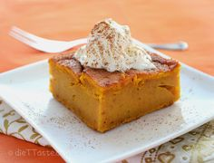 Pumpkin Dump Cake - couldn't be easier to make, even though it is made from scratch (unlike other dump cakes made with cake mix) and diabetic friendly too