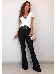 3f05fd132 22 melhores imagens de Calça flare preta | Black, Bell bottom pants ...