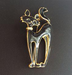 Black Cat Brooch Rhinestone Collar Vintage Jewelry by OurBoudoir