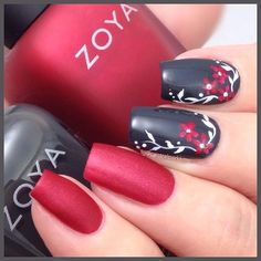 This is Amal and it's a gorgeous red matte polish. I've paired it with Noot, a fab glossy charcoal grey. And then I doodled a bit so you could see how Amal looks with a topcoat on it. Zoya Nail Polish, Nail Polish Colors, Red Polish, Red Nail Designs, Beautiful Nail Designs, Cute Nails, Pretty Nails, Grey Matte Nails, Sunflower Nail Art