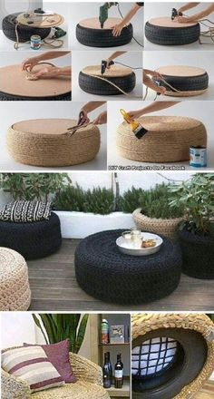 Tire Chairs Deck Planters Diy Room Decor Boho Decor Teak Barrels Diy Furni can find Teak and mor. Diy Furniture Couch, Diy Pallet Furniture, Furniture Projects, Furniture Design, Antique Furniture, Recycled Furniture, Furniture Outlet, Handmade Furniture, Garden Furniture