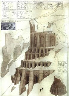 Sinbad - Backgrounds by Seth Engstrom, Wade Huntsman, and Nathan Fowkes (More at Living Lines) / ruines / chateau / forteresse / tour / arche / trait / composition / paysage Fantasy City, Fantasy Castle, Fantasy Map, Fantasy Places, Medieval Fantasy, Fantasy World, Environment Concept, Environment Design, Rpg Map