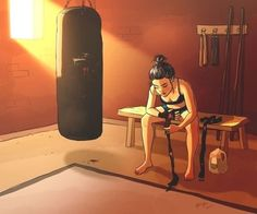 personal illustrations and paintings by yaoyao ma van as Kickboxing, Muay Thai, Girl Cartoon, Cartoon Art, Cartoon Ideas, Art Sketches, Art Drawings, Boxing Girl, Boxing Boxing