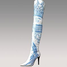 LOTOYO Dragon Totem blue & white hand painted boots with porcelain heel.